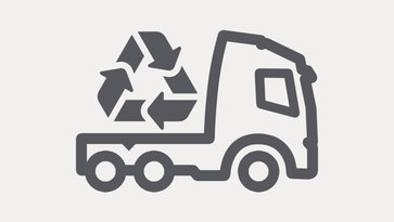 Icon showing a truck with a recycling symbol