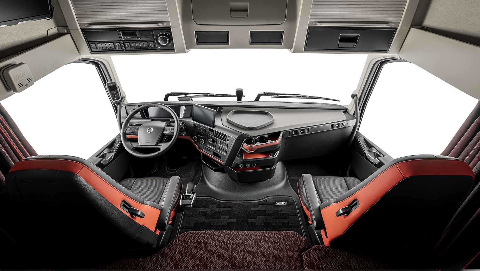 Several improvements, including a new, fully digitalised instrument panel and slimmer I-Shift gear lever feature in the updated cab interior of the Volvo FH and Volvo FH16.