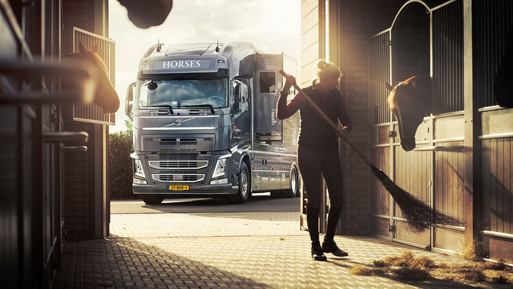 Volvo FH parked outside stables