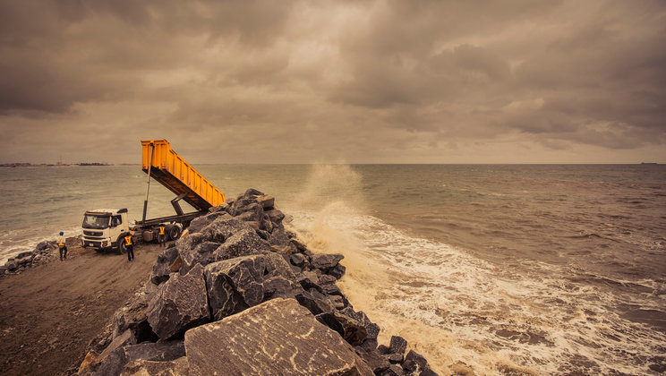 Breakwater in Lagos.
