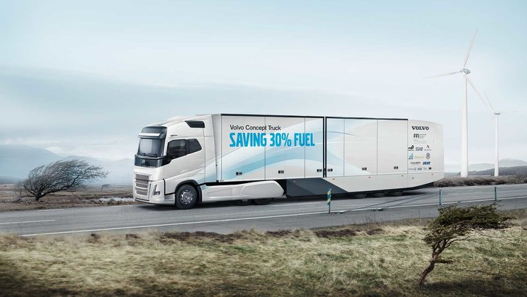 Fuel consumption in long haul operations could be cut by almost a third. This was demonstrated by Volvo Trucks´ 2017 concept vehicle.