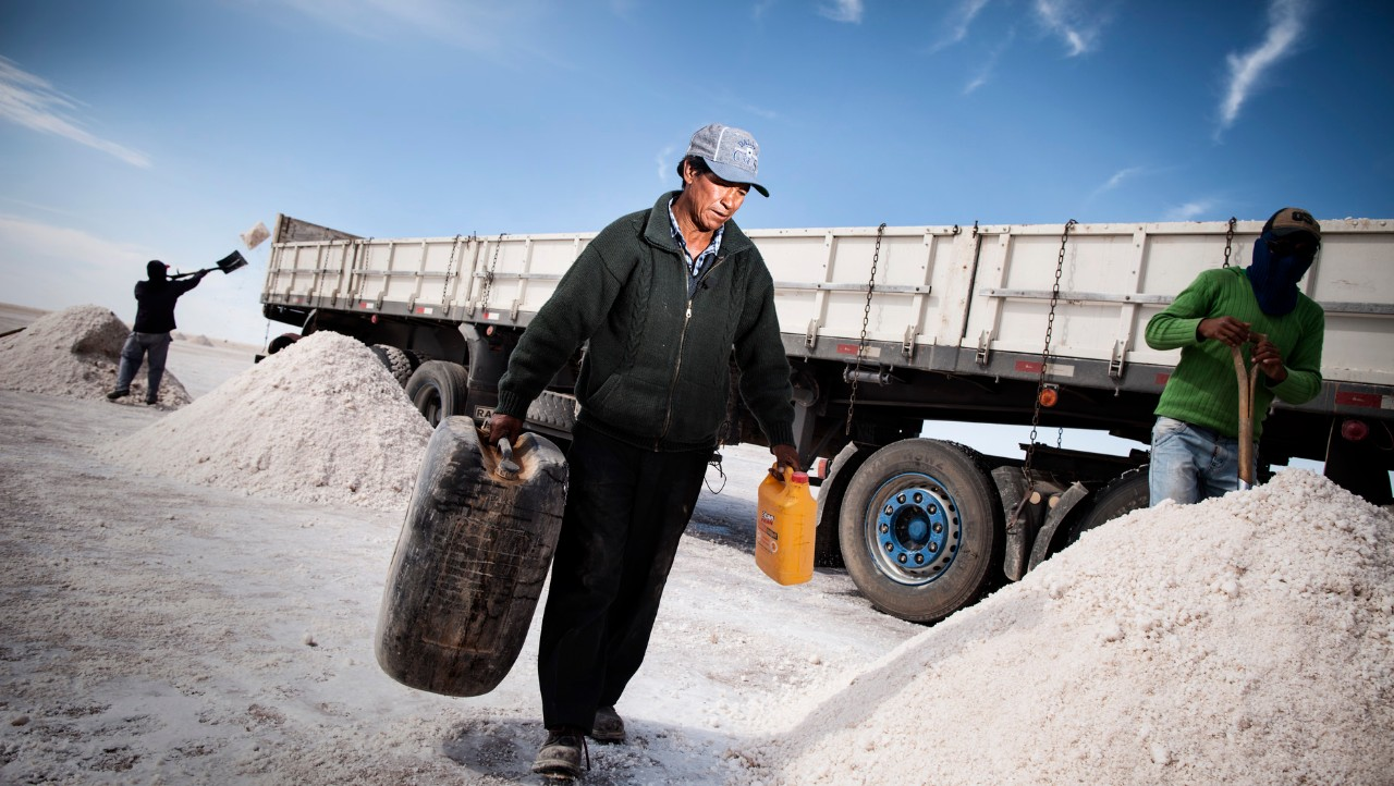 Loading truck with salt.