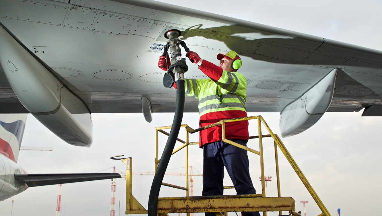 Refuelling a plane.