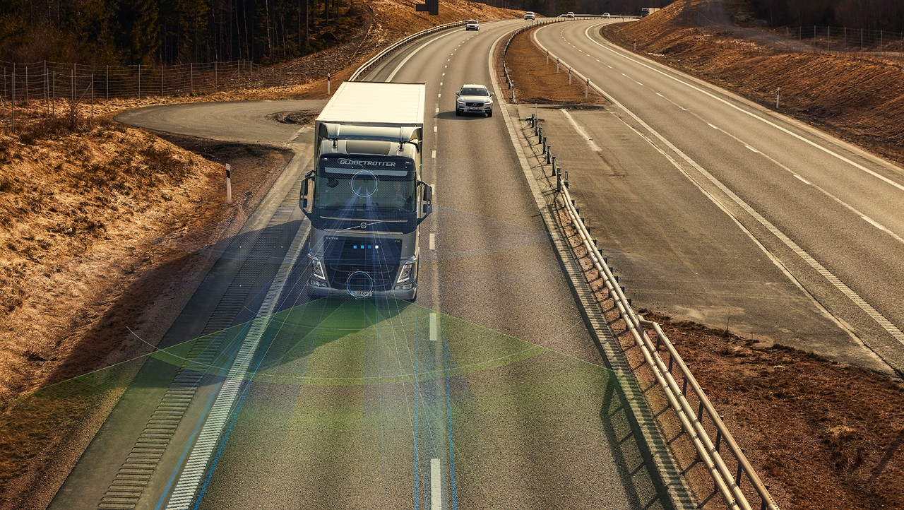 Volvo FH with radar in front to detect lane marks