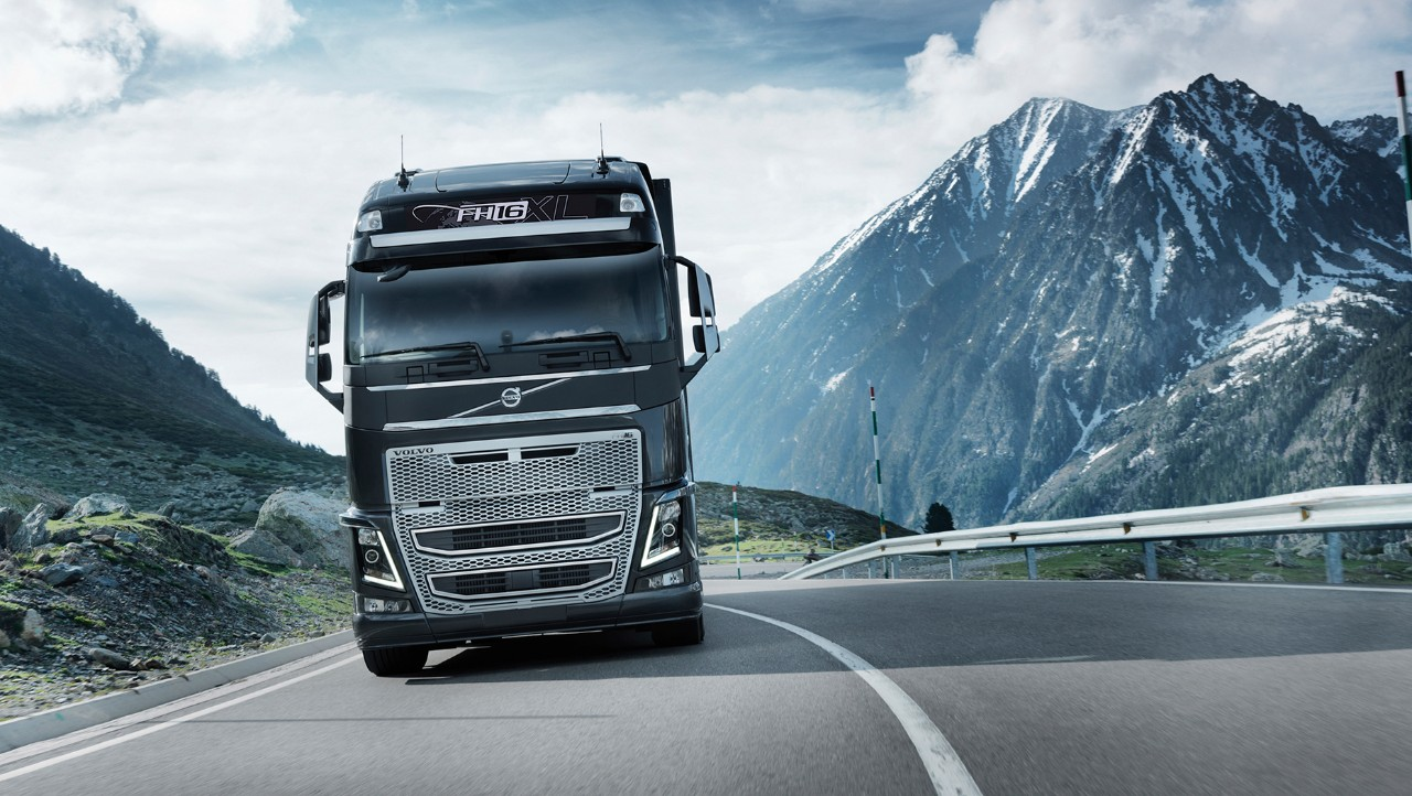 Volvo FH driving in a mountain landscape
