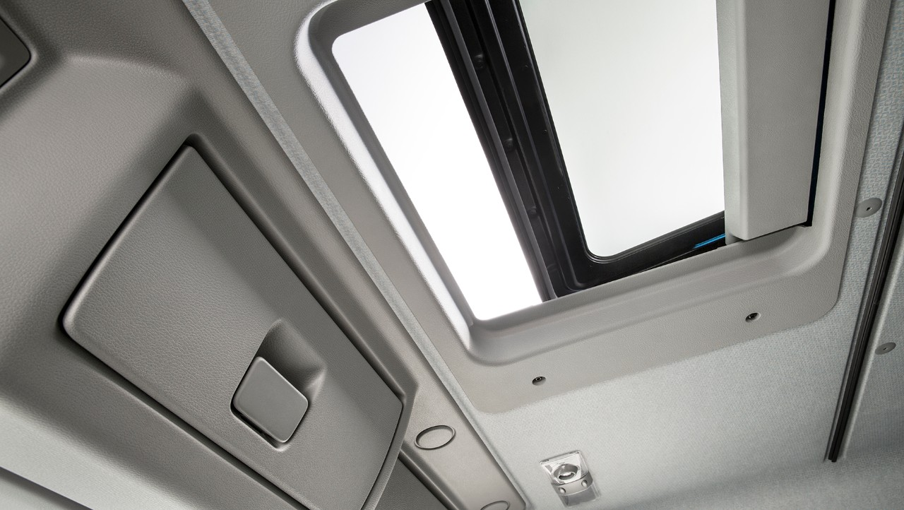 Escape hatch in a cab seen from the inside