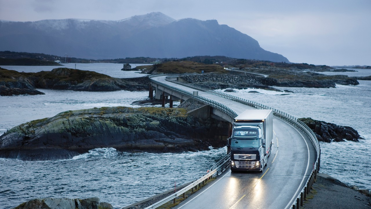 Volvo FH driving on winding bridge