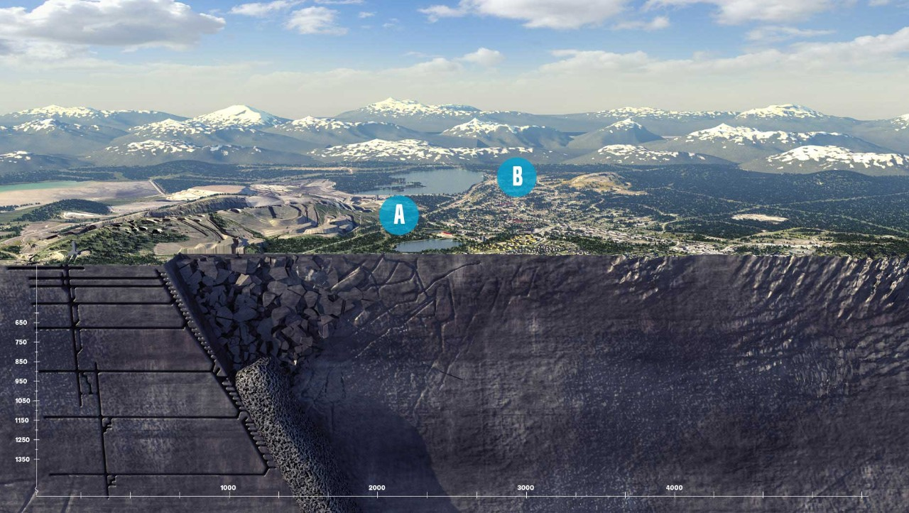 Cross section illustration of the mine that shows how it is undermining the town of Kiruna