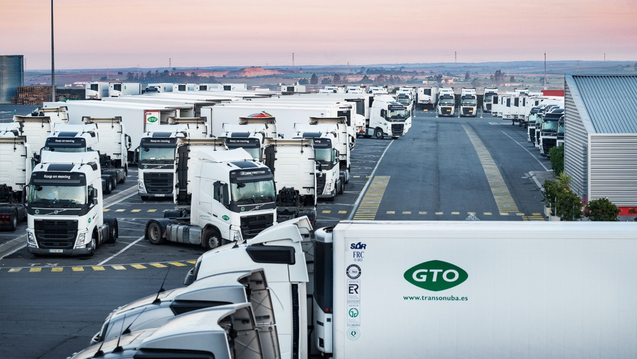 Numerous GTO Volvo trucks parked at the head office