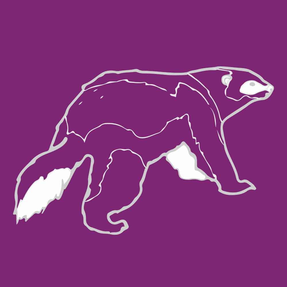 Purple, white and grey illustration of a wolverine