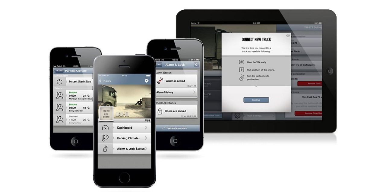 The Volvo trucks My truck app is available for several devices